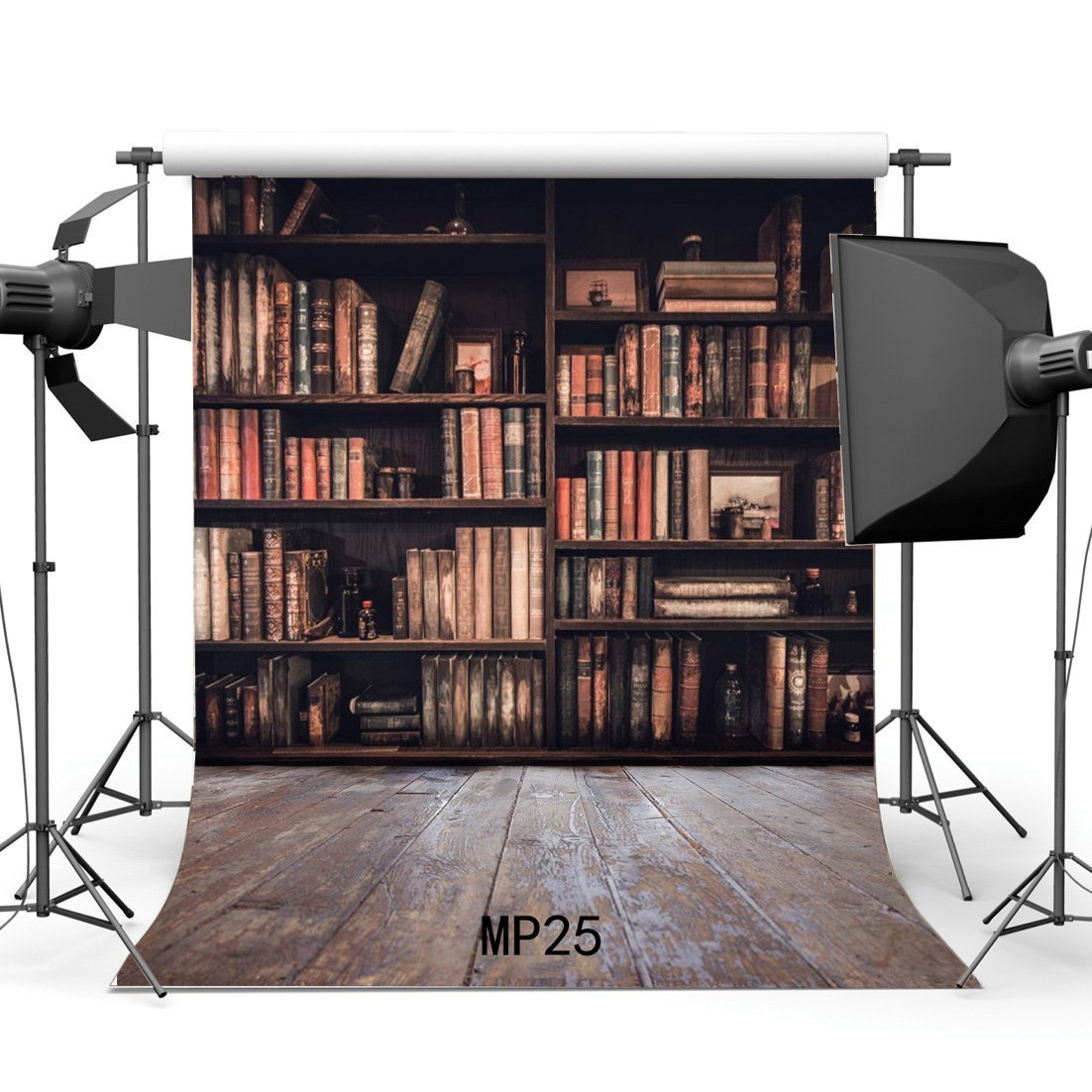 Vintage Study Room: HelloDecor Polyester 5x7ft Bookshelf Backdrop Vintage