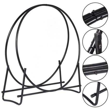 - Costway 40-Inch Tubular Steel Log Hoop Firewood Storage Rack Holder Round Display
