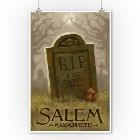 Salem, Massachusetts - Headstone - Halloween Oil Painting - Lantern Press Artwork (9x12 Art Print, Wall Decor Travel Poster)