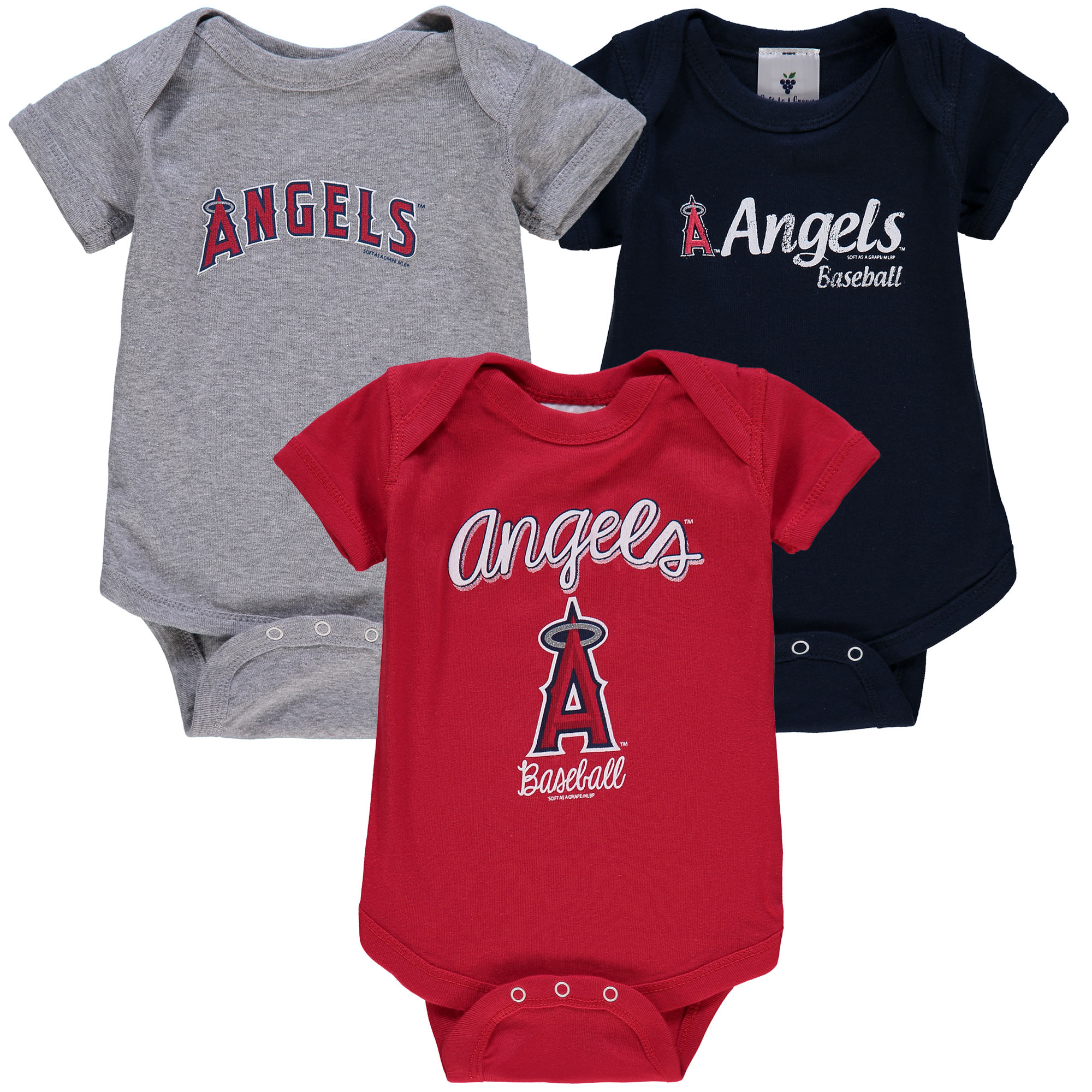 Los Angeles Angels Soft as a Grape Infant 3-Pack Rookie Bodysuit Set - Red/Gray/Navy