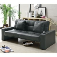 Bowery Hill Modern Sofa Bed in Faux Leather with Cup Holders, Black