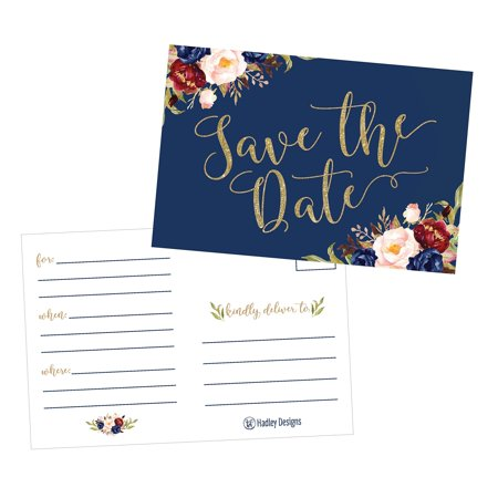 25 Navy Floral Save The Date Cards for Wedding, Engagement, Anniversary, Baby Shower, Birthday Party, Flower Save The Dates Postcard Invitations, Simple Blank Event Announcements (Save The Date Announcements For Corporate Events)