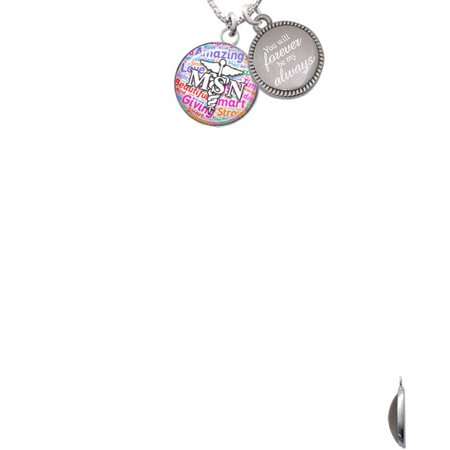 Silvertone Domed Multi Color Msn You Will Forever Be My Always Engraved Necklace