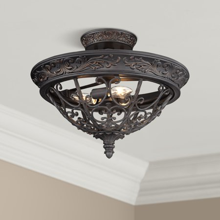 "Franklin Iron Works French Scroll 16 1/2"" Wide Rubbed Bronze Ceiling Light"