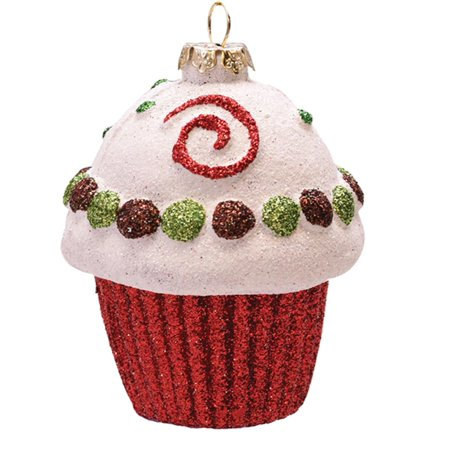 Merry & Bright Red, White and Green Glitter Shatterproof Cupcake Christmas Ornament - Red And Green Christmas