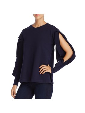 Vince Camuto Womens Ruffled Split Sleeves Sweatshirt Navy M