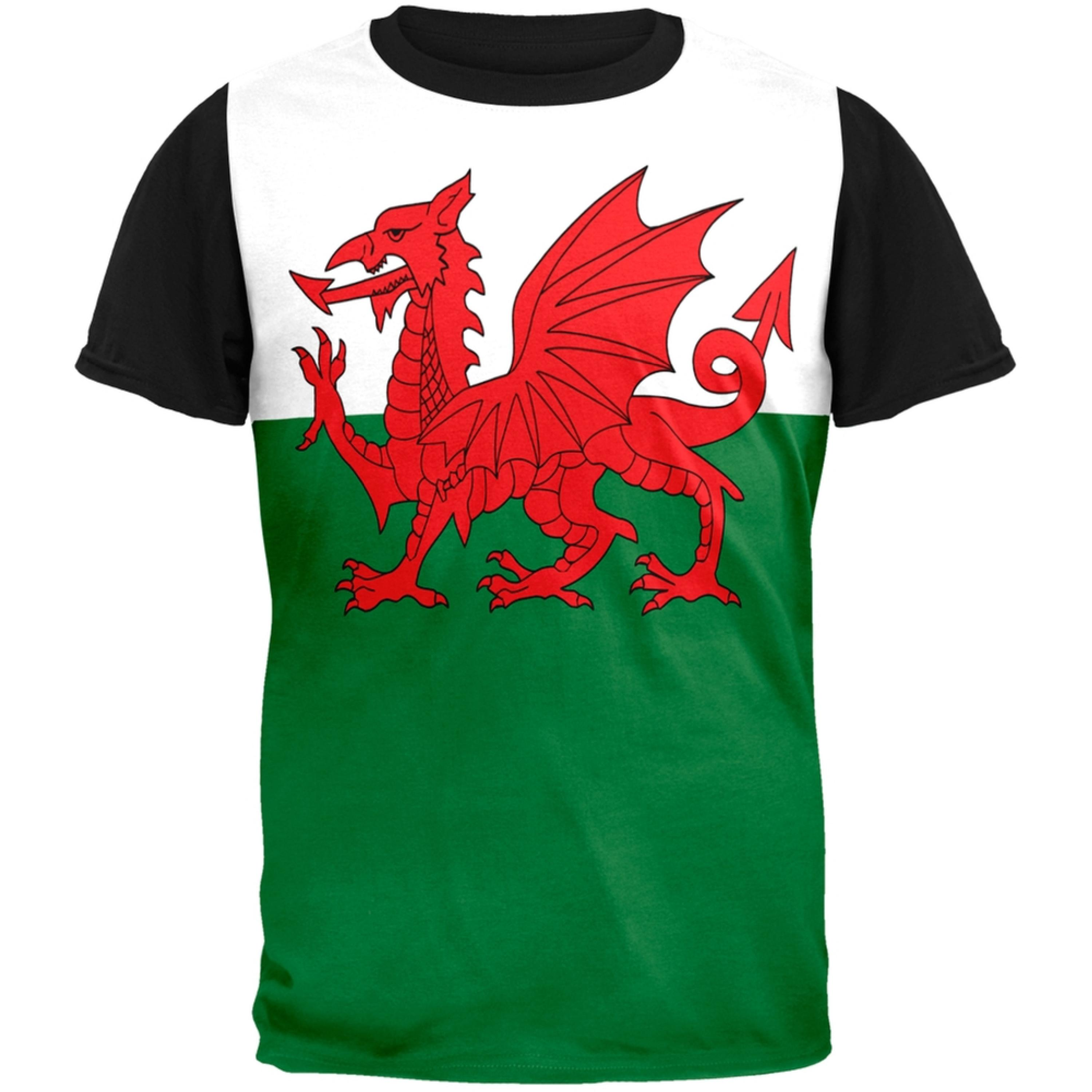 Welsh Flag Adult Black Back T-Shirt
