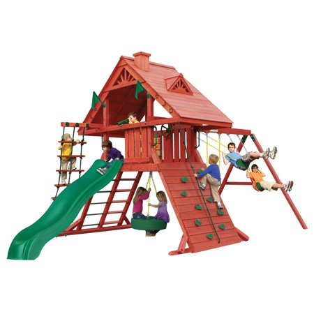 Gorilla Playsets Sun Palace I Wooden Swing Set with Tire Swing, Extra Large Rock Climbing Wall, and Rope Ladder