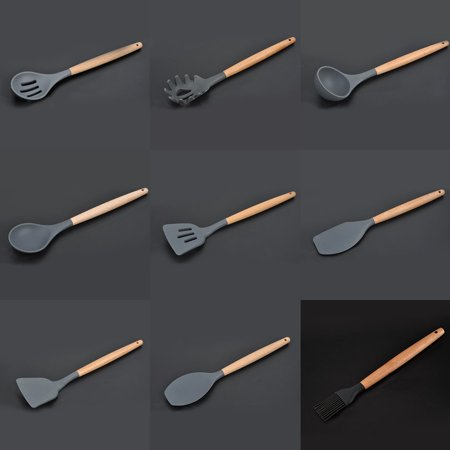 Silicone Wooden Handle Kitchen tool Non-stick Spatula Tool Set Cooking Utensils Kitchen tool - image 1 de 6