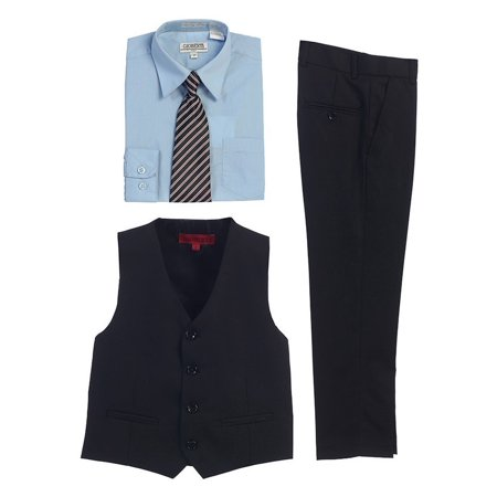 Gioberti Sky Blue Black Vest Pants Striped Tie Shirt 4 Pc Formal (1980's Outfit)