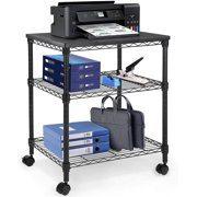 Pipishell Printer Stand - 3 Tier Printer Cart, Multifunctional Metal Utility Shelves, Workspace Desk Organizer, Rolling Cart