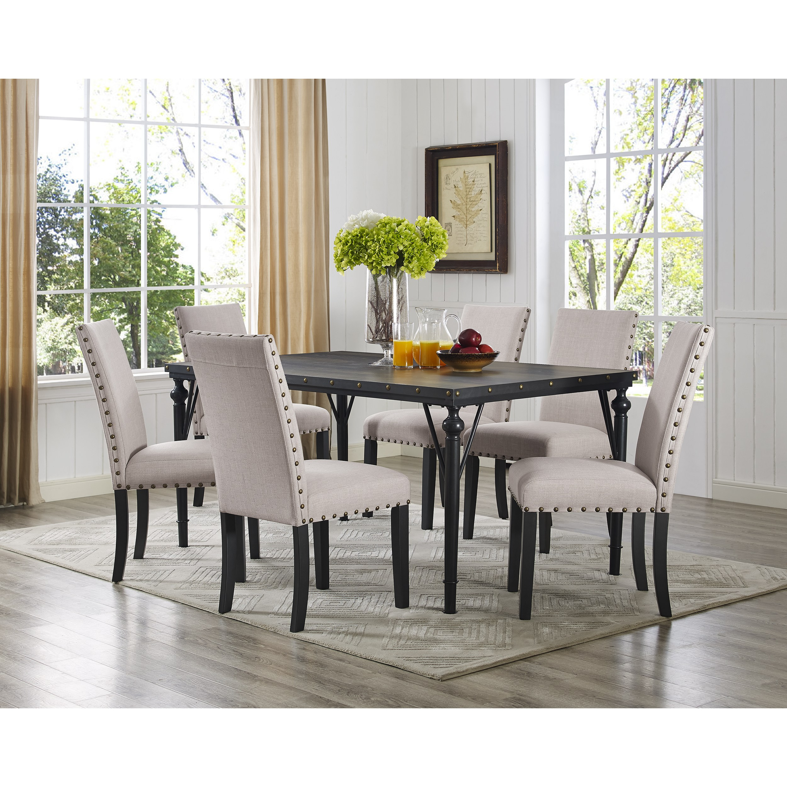 Roundhill Furniture Biony 7 Piece Wooden Dining Table Set