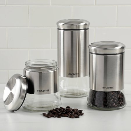 3 Form Glass (Mr Coffee Cache Glass Canister Set, Set Of 3)