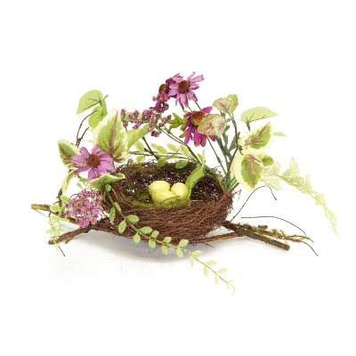 Pack of 6 Artificial Purple and Green Flowers Decorative Nests 12""