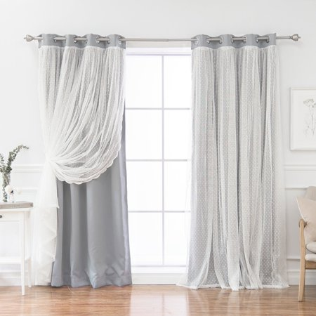 Best Home Fashion Some Day Dotted Lace Overlay Grommet Curtain Panel (Requires Overlay Panel)
