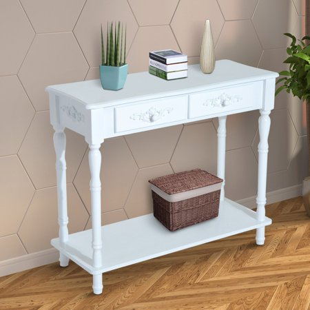 (HomCom 2 Drawer Wood Entryway Console Table)