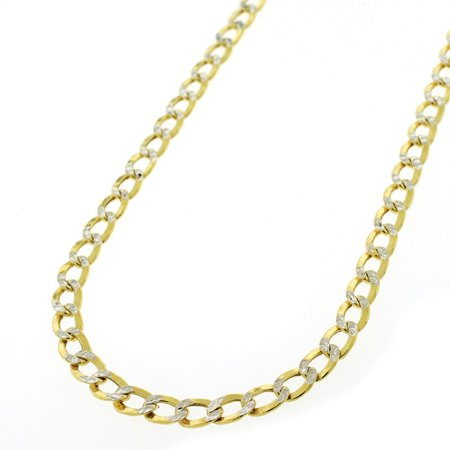 10K Yellow Gold 4.5mm Hollow Cuban Curb Link Diamond Cut Pave Chain Necklace 18