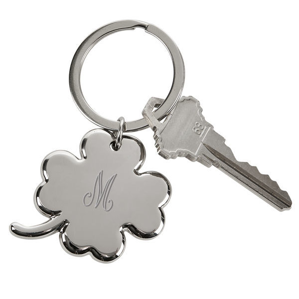 "Personalized Personalize with Monogram Four Leaf Clover Key Chain 3"" Long"
