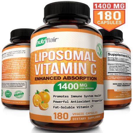 NutriFlair Liposomal Vitamin C 1400mg - 180 Capsules - High Absorption, Fat Soluble VIT C, Antioxidant Supplement, Higher Bioavailability Immune System Support & Collagen Booster, Non-GMO, Vegan