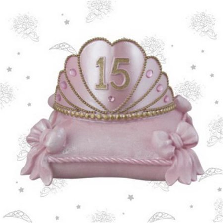 Pink Mis Quince Anos Quinceanera Tiara on Pillow - Quinceanera Centerpiece Ideas