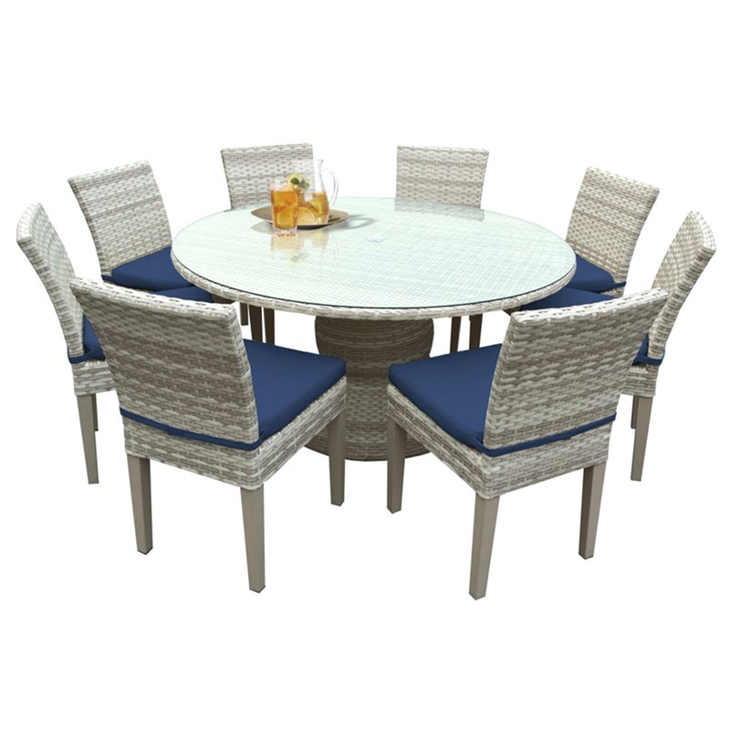 tkc fairmont 9 piece 60 round glass top patio dining set. Black Bedroom Furniture Sets. Home Design Ideas