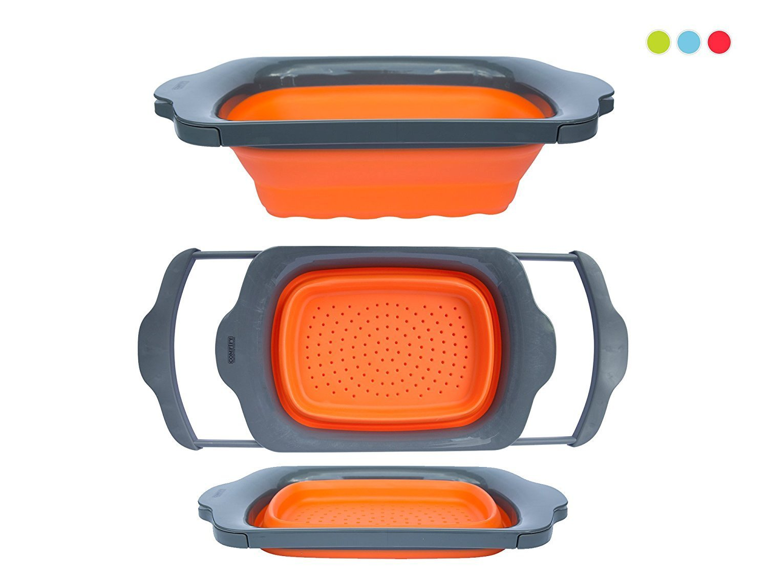 Click here to buy Collapsible Kitchen Colander Over the Sink Kitchen Strainer By Comfify 6-quart Capacity Progressive Collapsible Colander with Handle Orange... by Comfify.