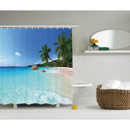 Ocean Decor Shower Curtain Set, Anse Lazio Beach At Praslin Island Surf Beach, Bathroom Accessories, 69W X 70L Inches, By -