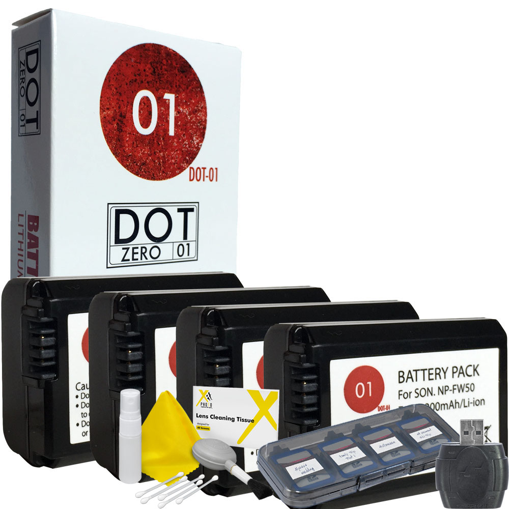 4x DOT-01 Brand 2200 mAh Replacement Sony NP-FW50 Batteri...