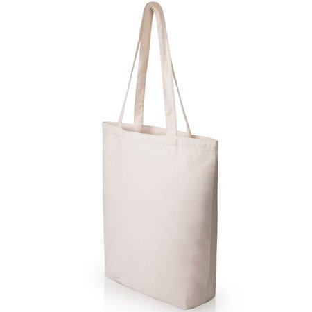 Natural Canvas Tote Bags Craft - Heavy Duty and Strong Large Natural Canvas Tote Bags with Bottom Gusset (25 Pack + other sizes) for Crafts, Shopping, Groceries, Books, Welcome Bag, Diaper Bag, Beach, and Much More! -25- (15x14x4)