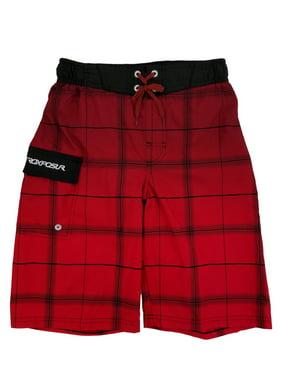 Boys Red Plaid Surf Shorts Swim Trunks Board Shorts M10/12