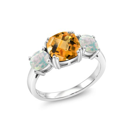 4.15 Ct Cushion Checkerboard Yellow Citrine White Simulated Opal 925 Silver Ring