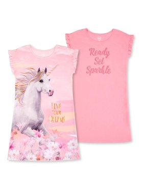 Wonder Nation Girls Exclusive 4-18 & Plus 2-Pack Lightweight Short-Sleeve Pajama Nightgown Set