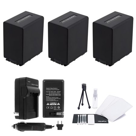 3-Pack NP-FV100 High-Capacity Replacement Batteries with Rapid Travel Charger for Select Sony Digital Cameras. UltraPro Bundle Includes: Camera Cleaning Kit, Screen Protector, Mini Travel Tripod (Sony Screen Replacement Kit)