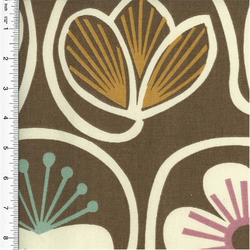 Designer Cotton Brown Multi Floral Print  Decorating Fabric, Fabric By the Yard