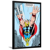 Marvel Comics Retro: Mighty Thor Comic Panel, Flying Framed Poster Wall Art