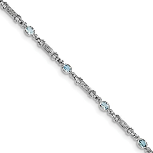 Sterling Silver Aquamarine & Diamond Bracelet. Carat Wt- 0.07ct. Gem Wt- 1.14ct by Jewelrypot