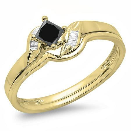 Dazzlingrock Collection 0.50 Carat (ctw) 10K Black & White Diamond Bridal Engagement Ring Set 1/2 CT, Yellow Gold, Size 7