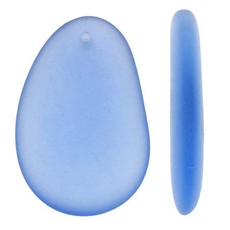 - Cultured Sea Glass, Large Hypnotic Freeform Pendant 50x32mm, 1 Piece, Light Sapphire Blue