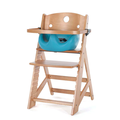 Keekaroo Height Right High Chair w/ Infant Insert & Wooden Tray-Natural - Aqua
