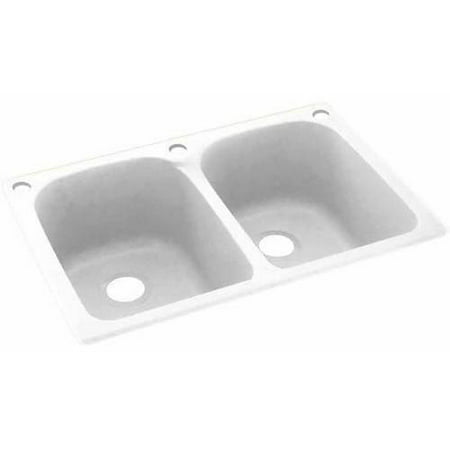Swan solid surface double bowl kitchen sink 33 x 22 for Solid surface kitchen sink