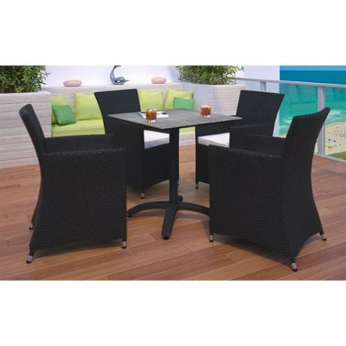 Modway Junction 5 Piece Outdoor Patio Dining Set in Brown and White