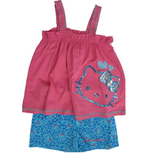 Hello Kitty Little Girls Fuchsia Blue Sparkle Applique 2 Pc Shorts Set 4-6X