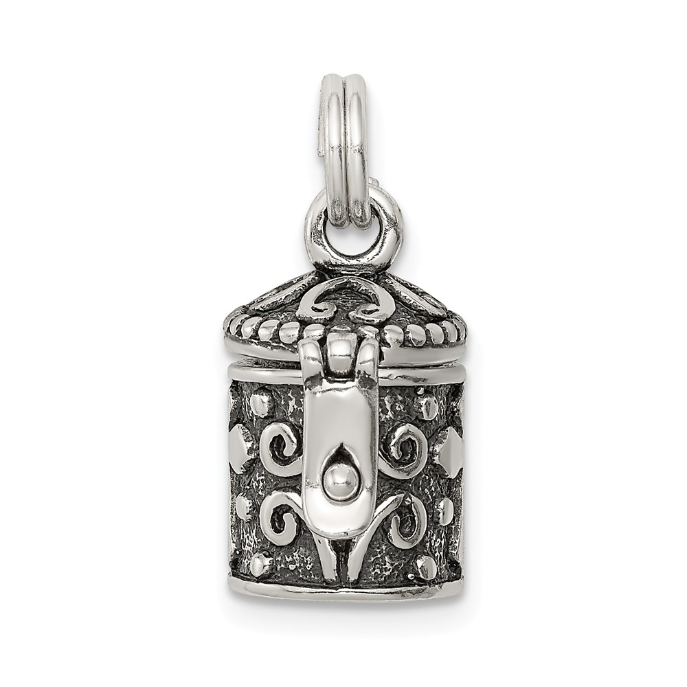 Sterling Silver Antiqued Cross Prayer Box Charm (0.6in long x 0.4in wide)