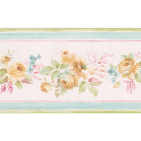 Yellow Roses in Bouquet Pale Pink Floral Wallpaper Border Retro Design, Roll 15' x 3.5'' - image 3 of 3