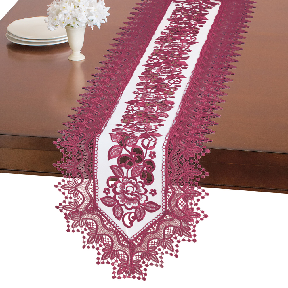 Elegant Floral Rose And Lace Embroidered Table Linens, Runner, White