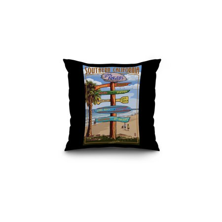 Southern Los Angeles, California - Destinations Sign - Lantern Press Artwork (16x16 Spun Polyester Pillow, Black (Black Sabbath The Sign Of The Southern Cross)