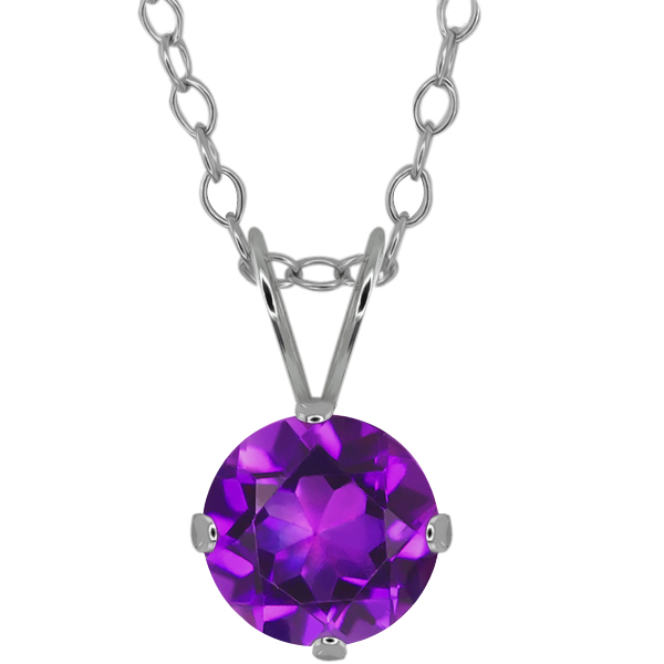 "1.30 Ct Round 7mm Purple Amethyst 925 Sterling Silver Pendant With 18"" Silver Chain"