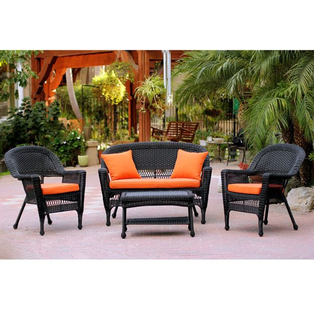 4 piece black wicker patio chair loveseat table furniture set orange cushions 51