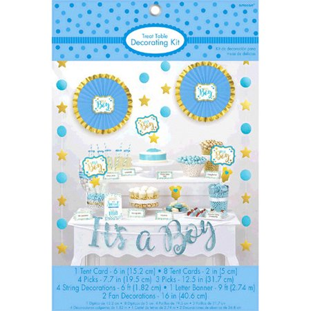 Baby Shower Blue and Gold 'It's a Boy' Candy Table Decorating Kit - Boy Baby Shower Candy