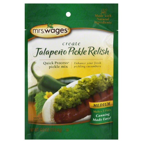 Mrs. Wages® Create Jalapeño Pickle Relish Quick Process® Pickle Mix 4.0 oz. Pouch